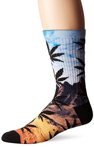 HUF Men's Flavor Cty Plantlife Crew Sock, Blue/Yellow, One Size