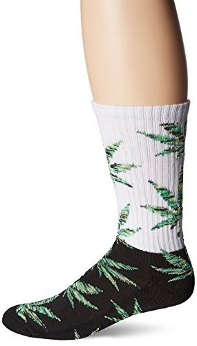 HUF Men's Melange Plantlife Crew Sock, Black/Green, One Size