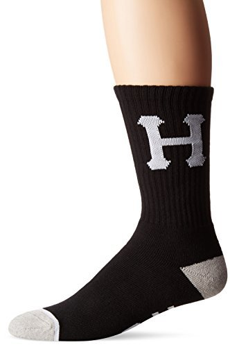 HUF Men's Classic H Crew Sock, Black, One Size