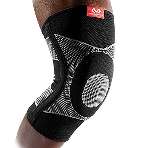 McDavid 4 Way Elastic Knee Sleeve with Gel Buttress and Stays, Small, Black