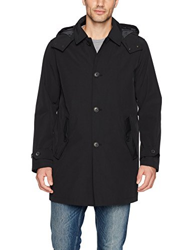Tommy Hilfiger Men's Hooded Rain Trench Coat with Removable Quilted Liner, Black, Small