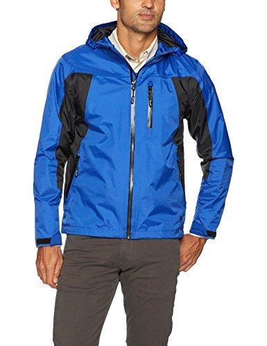 Wrangler Men's Waterproof Zip Front Rain Jacket, Black/Grey, S