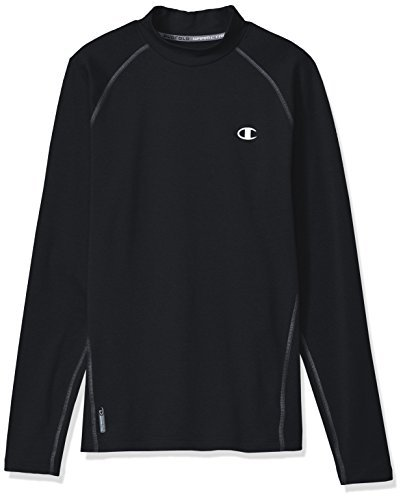 Champion Men's Cold Weather Long Sleeve Mock Neck Tee, Black/Stormy Night, Small